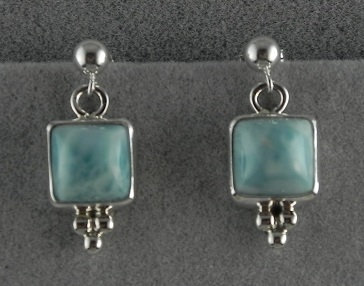 Square Silver & Larimar Earrings