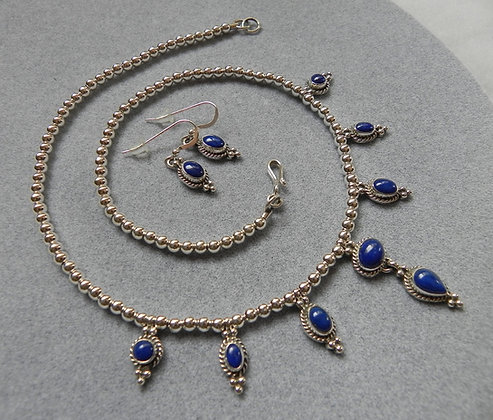 Silver & Lapis Necklace & Earrings Set