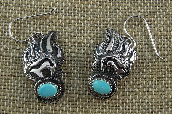 Silver & Turquoise Bear Paw Earrings