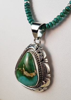 Silver & Royston Turquoise Pendant by Larry Yazzie