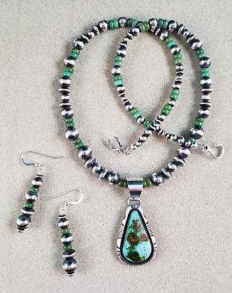 Silver & Royston Turquoise Pendant by Ronnie Willie