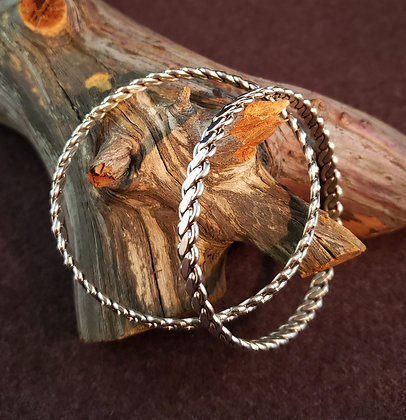 Sterling Silver Braid Bangle by Elaine Tahe