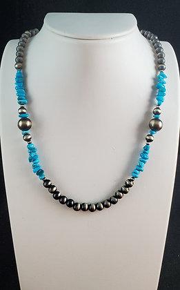 Burnished Beads & Turquoise Necklace