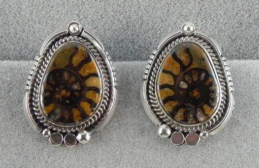 Sterling Silver & Ammonite Fossil Earrings