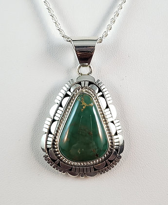 Cerillos Turquoise Pendant by Robert Concho, Navajo