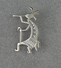 Silver Kokopelli Pin