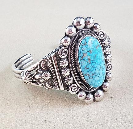 Sterling Silver & Kingman Turquoise Bracelet by Leon Martinez