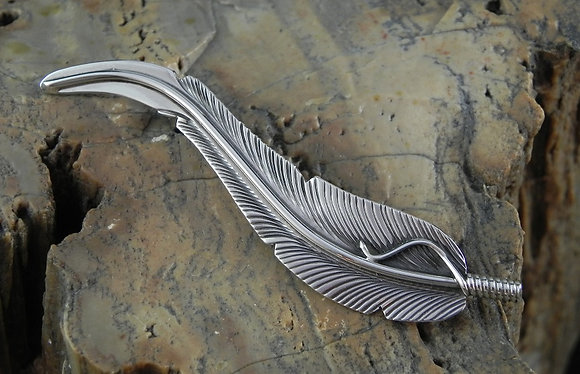 Ornate Sterling Silver Feather Pin