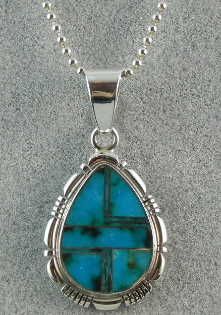 81206941c313 Sterling silver and turquoise pendant by Navajo artist Robert Concho.  Lovely tear-drop shaped contemporary style pendant with expertly inlaid  turquoise.