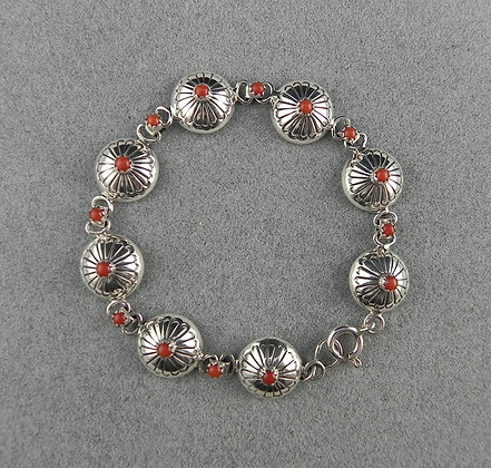 Silver & Coral Concho-Style Link Bracelet