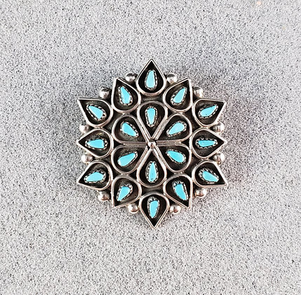 Sleeping Beauty Turquoise Snowflake Pin/Pendant by A&P Lahi