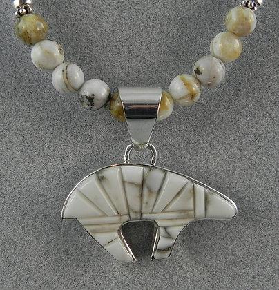 Silver & Magnesite Reversible Bear Pendant w/Beads