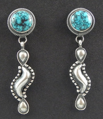High Grade Natural Kingman Turquoise Earrings by Derrick Gordon