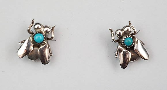 Sterling Silver and Turquoise Fly Earrings