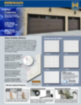 """Orion Brochure, Traditional panel, Ranch panel, Country Panel, Cottage Panel,Fluch Panel, 3100 Series 25 gauge steel .019"""" min 1 3/8"""", 2"""" sections, 3200 Series , 11 ball bearing nylon rollers, Windload Certified garage doors EXtreme package available, 3"""" heavy Duty Struts, commercial grade hardware"""