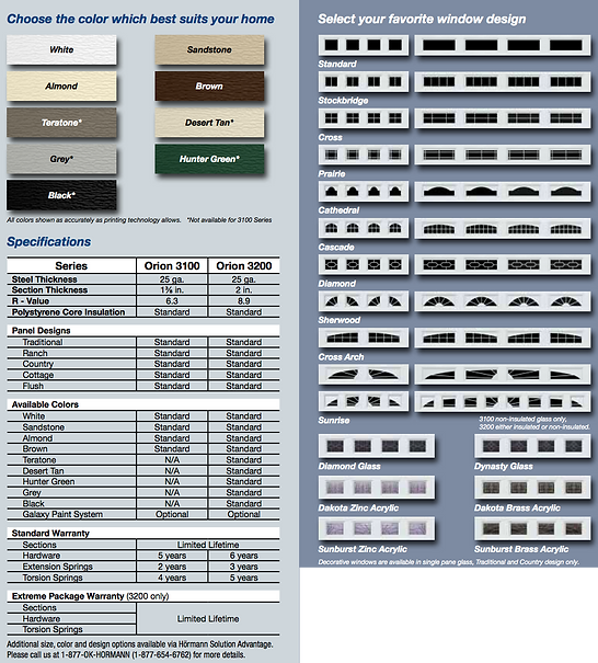 "Hormann garage doors,Gemini Brochure, Traditional panel, Ranch panel, Country Panel, Cottage Panel,Fluch Panel, 3100 Series 25 gauge steel, 1 3/8"", .019"" min, 2"" sections, 3200 Series, 11 ball bearing nylon rollers, Windload Certified garage doors EXtreme package available, 3"" heavy Duty Struts, commercial grade hardware, White, Almond, Teratone, Grey, Black, Sandstone, Brown, Desert Tan, Hunter Green, Standard windows, Stockbridge windows, Cross windows, Prairie winows, Cathedral windows, Cascade windows, Diamond windows, Sherwood windows, Cross Arch Windows, Diamond glass, Dynasty Glass, Dakoto Zinc Acrylic, Dakota Brass Acrylic, Sunburst Zinc Acrylic, Sunburst Brass Acrylic, Decrotive hardware available, 6.3 R-value, 8.9 R-Value, Torsion springs, Extension springs, warranty, polystyrene core insulation, Galaxy Paint system"