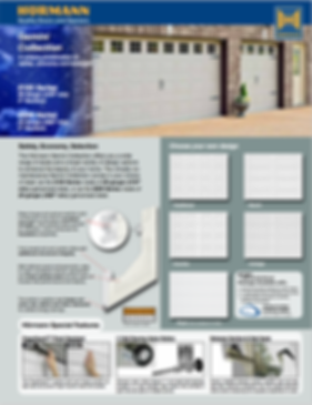 """Hormann garage doors,Gemini Brochure, Traditional panel, Ranch panel, Country Panel, Cottage Panel,Fluch Panel, 2100 Series 25 gauge steel .019"""" min, 2"""" sections, 2200 Series 24 gauge .022"""" min, 11 ball bearing nylon rollers, Windload Certified garage doors EXtreme package available, 3"""" heavy Duty Struts, cmmercial grade hardware"""