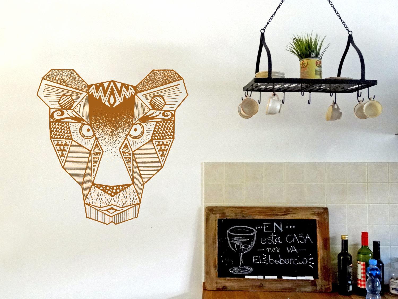 Geometric liones decorative mural