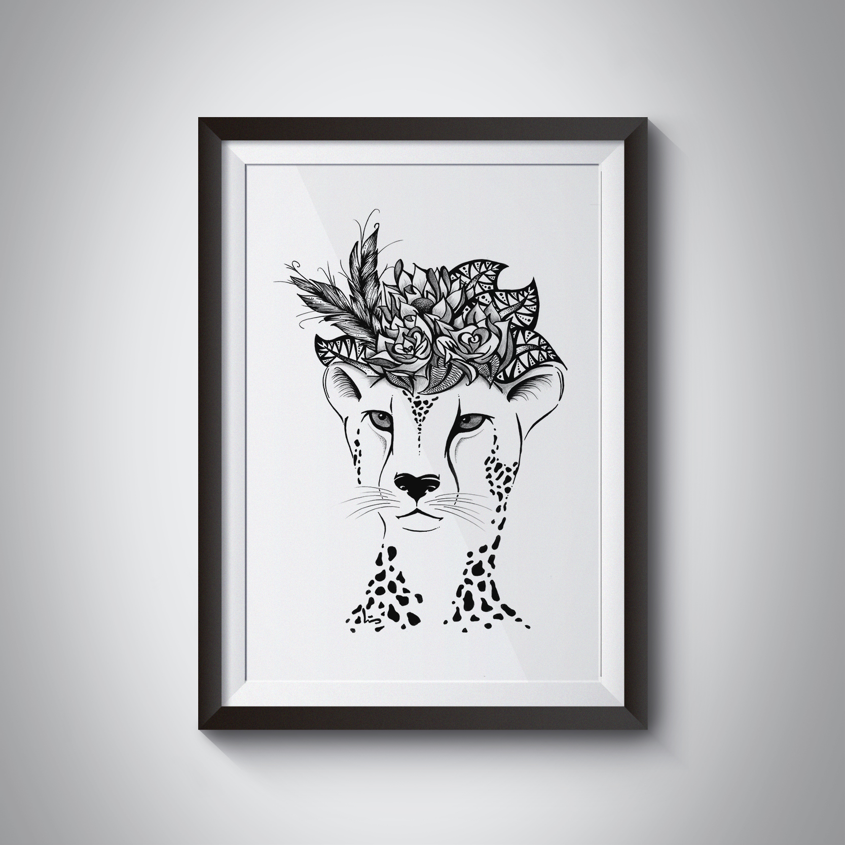 Cheetah face with roses
