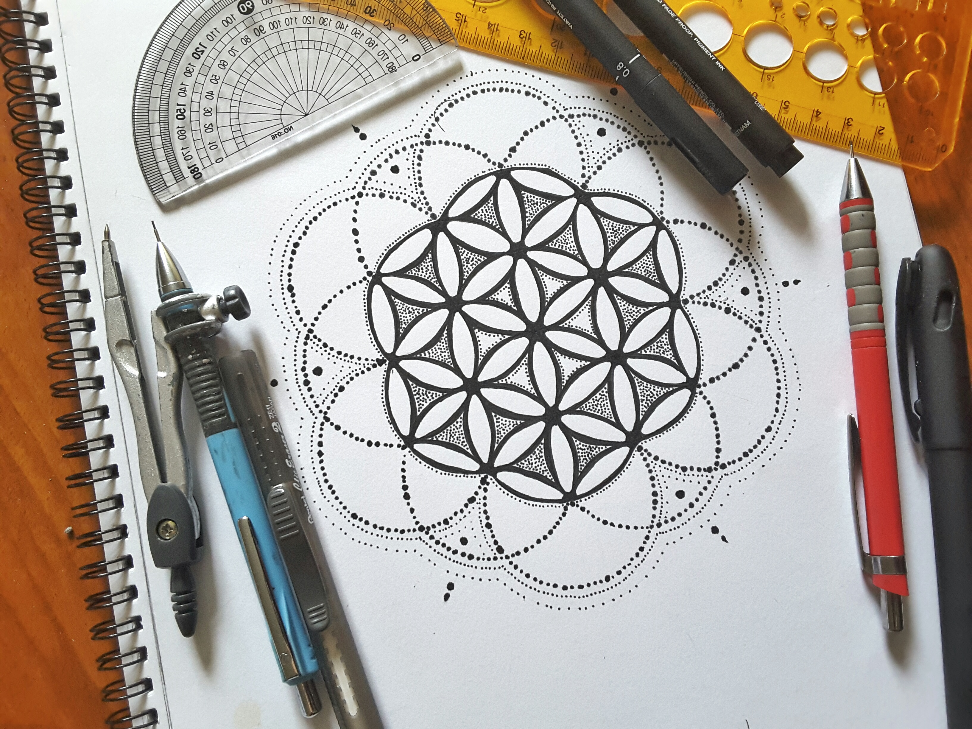 Flower of life in dots