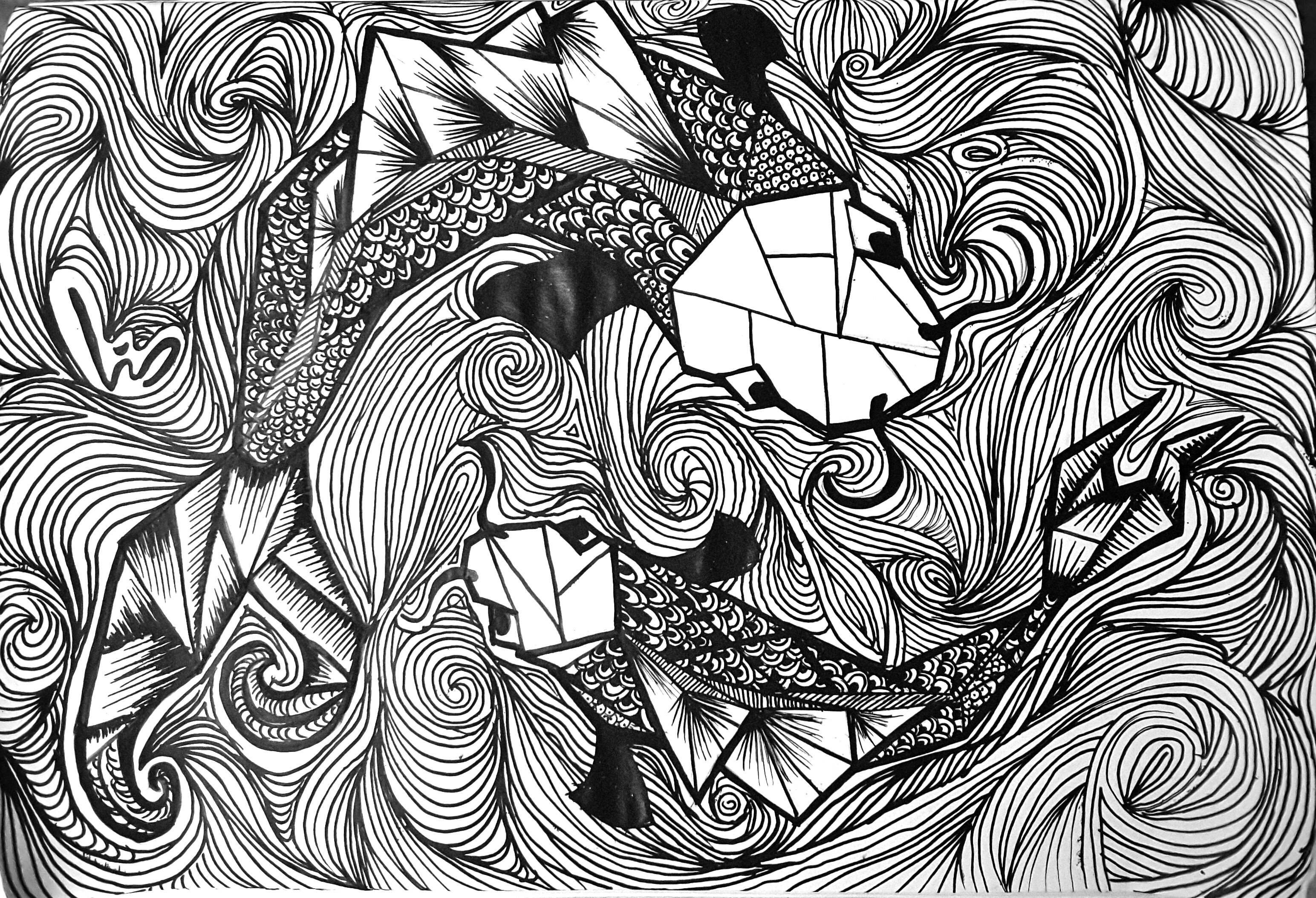 Geometric koi fish