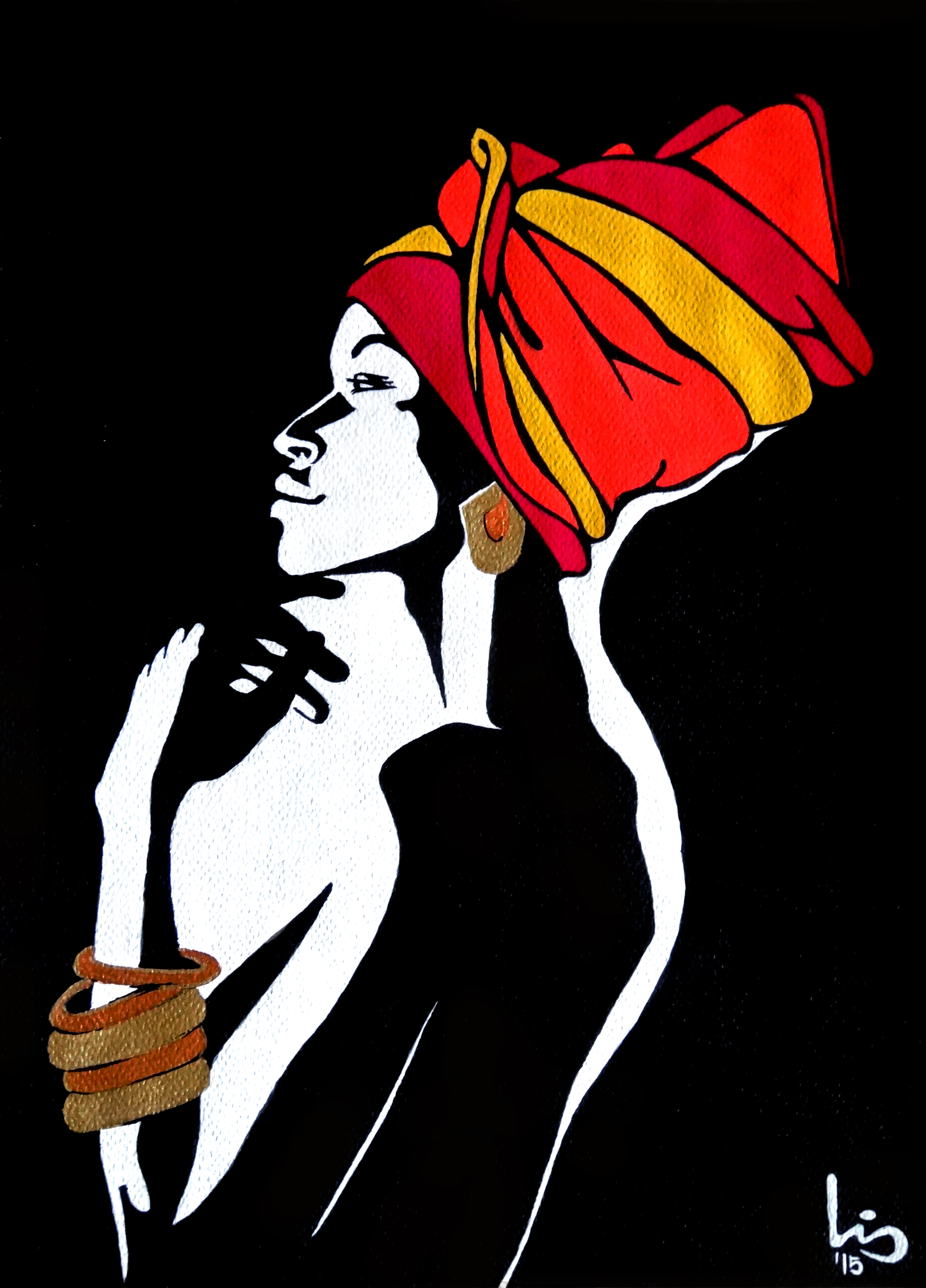African lady in reds