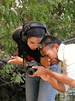 Assisting Dwight Taylor on location.