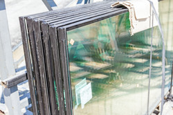 Double glazed glass window stacked and r