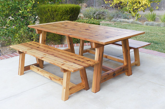 Outdoor Trestle Table with Matching Benches