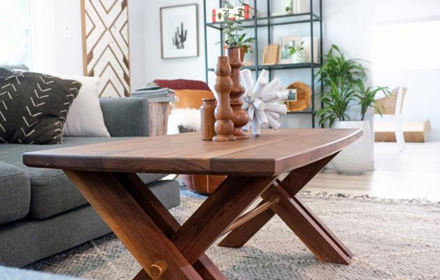 Walnut Coffee Table w/ Copper Accents