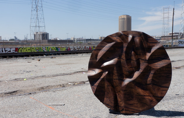 Hand Carved Walnut Art Piece