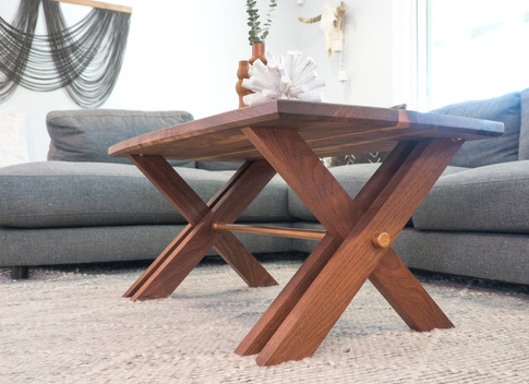Solid Walnut Coffee Table w/ Copper Accent