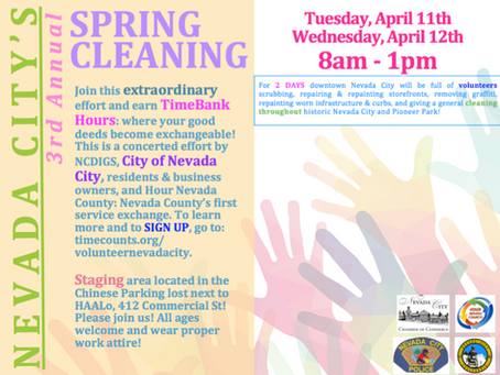 3rd ANNUAL SPRING CLEANING SET FOR NEVADA CITY