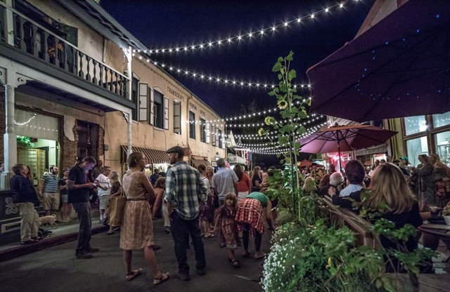 The First Friday Art Walk under the Terrazzo Lights on Commercial Street