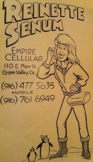 Reinette Senum's business card, circa 1990