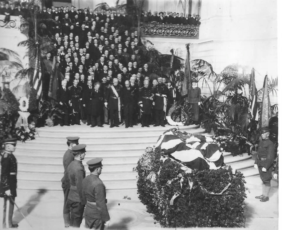 Major General Frederick Funston laying in state at the City Hall Rotunda of San Francisco, 1917