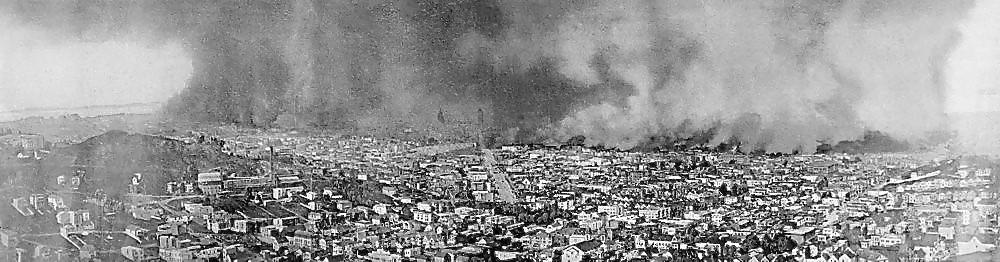 The inferno following the 1906 earthquake, San Francisco