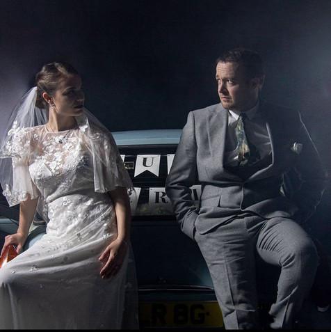 Hazel Young with Jack Bence on the set of Honeymoon 2021