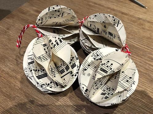 Handmade Christmas Baubles from Manuscript