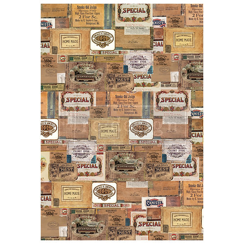 DECALCOMANIA VINTAGE CIGAR BOX 55x81 cm