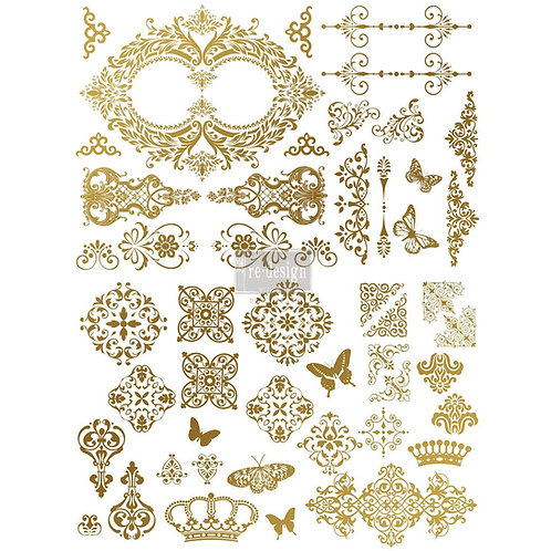 DECALCOMANIA GILDED BAROQUE SCROLLWORK ORO