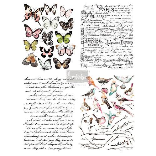 DECALCOMANIA PARISIAN BUTTERFLIES 55x76 cm