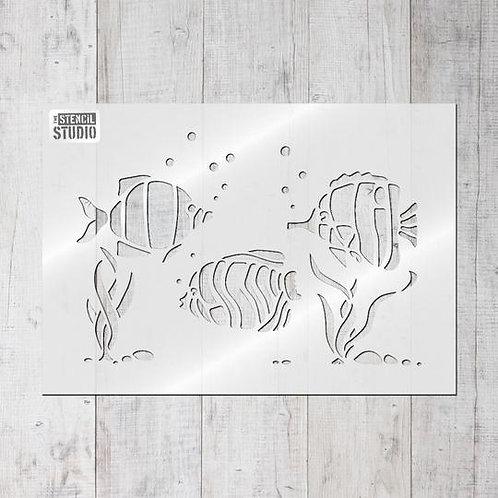 Stencil Tropical Fish Border