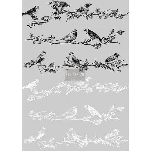 DECALCOMANIA BIRDS BERRIES 60x84 cm