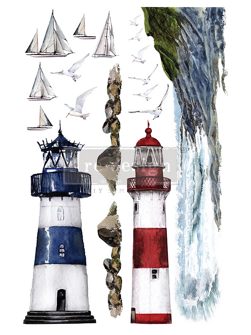 DECALCOMANIA LIGHTHOUSE 61x89 cm