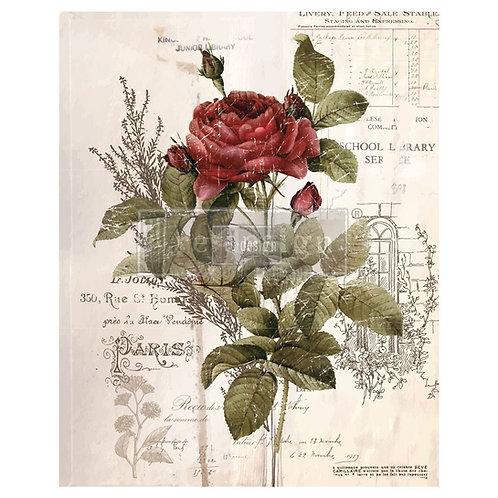 DECALCOMANIA BOTANICAL ROSE 66x81 cm