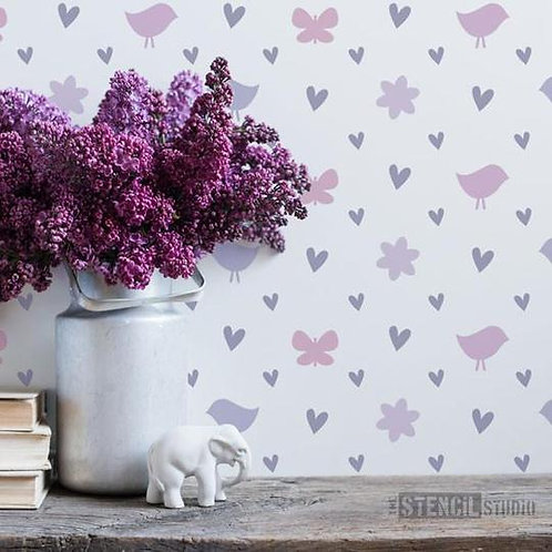 Stencil Diamond Hearts Repeat