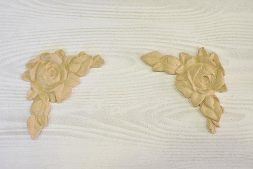 Coppia Fregio Angolo Rosa pasta di legno