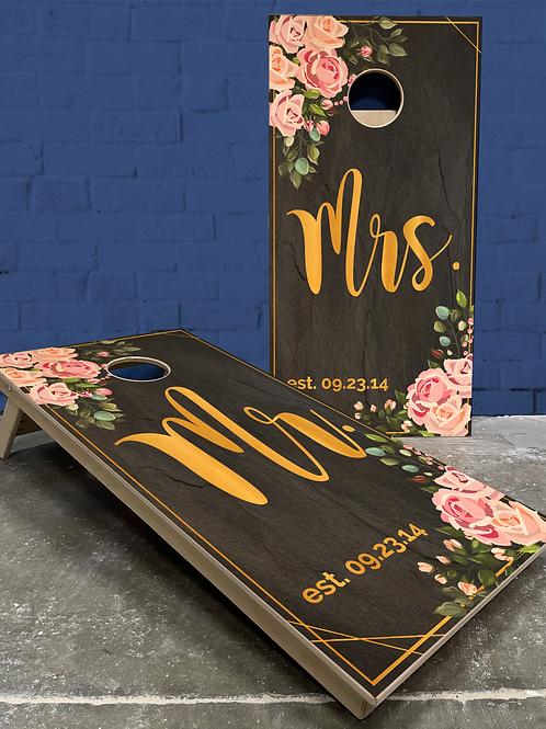 Floral & Gold Wedding Cornhole Boards