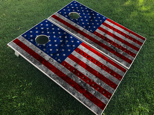 American Flag Rivet Cornhole Boards